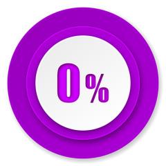 0 percent icon, violet button, sale sign