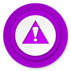 exclamation sign icon, violet button, warning sign, alert symbol