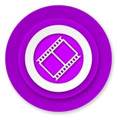 film icon, violet button, movie sign, cinema symbol