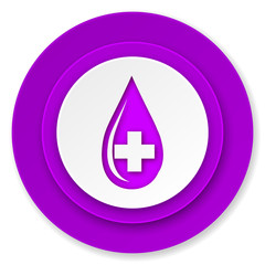 blood icon, violet button