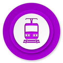 train icon, violet button, public transport sign