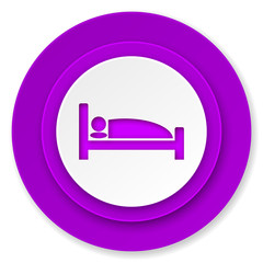 hotel icon, violet button, bed sign