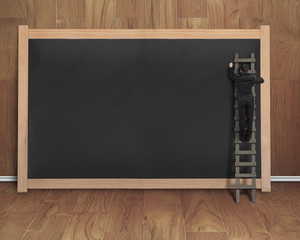 businessman climbing ladder drawing on black blank chalkboard