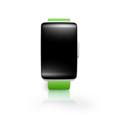 black blank glass curved screen smartwatch with bright green wat