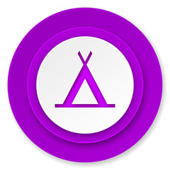 camp icon, violet button