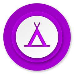camp icon, violet button