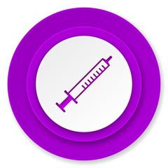 medicine icon, violet button, syringe sign