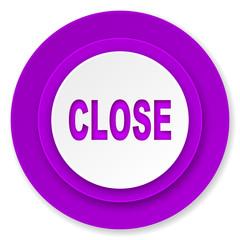 close icon, violet button