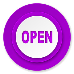 open icon, violet button