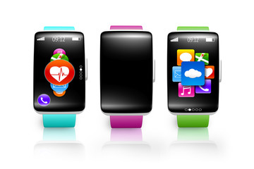 collection of black glass curved screen smartwatch with colorful