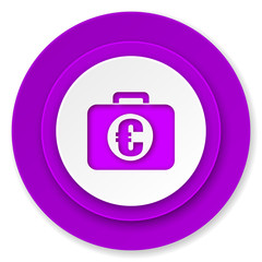 financial icon, violet button