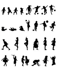 Silhouettes of children playing, vector illustration