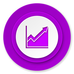 histogram icon, violet button, stock sign
