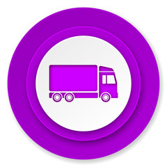 delivery icon, violet button, truck sign