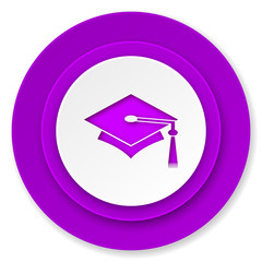 education icon, violet button, graduation sign