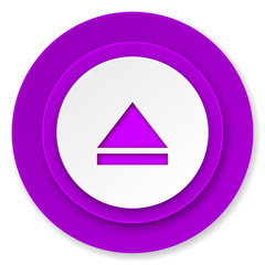 eject icon, violet button, open sign