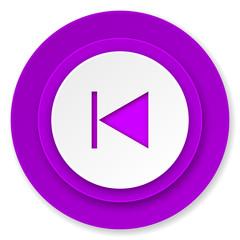 previous icon, violet button