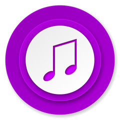 music icon, violet button, note sign