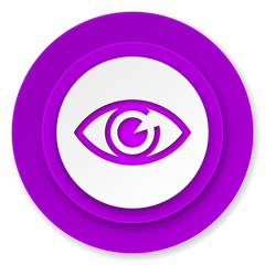 eye icon, violet button, view sign