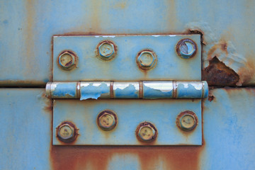 Blue Door Hinge - Stock Image