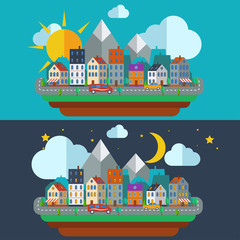 Urban Night and day city landscape