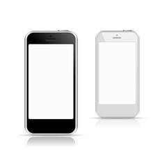 black and white smart phone mockups with blank screen
