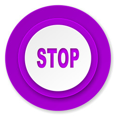 stop icon, violet button