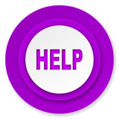 help icon, violet button