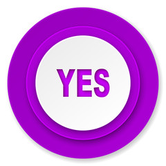yes icon, violet button