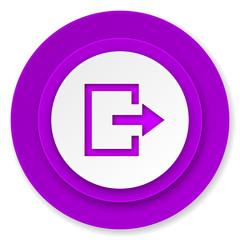 exit icon, violet button