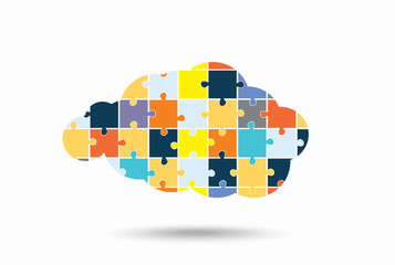 Abstract cloud of puzzle pieces