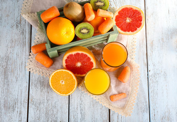 Fruit and vegetable juice and fresh vegetables and fruits