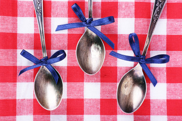 Metal spoons on checkered fabric background