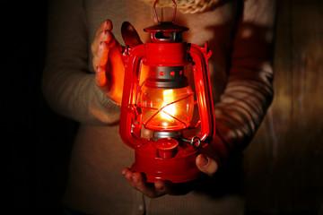 Lantern in hands