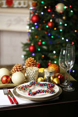 Serving Christmas table in room