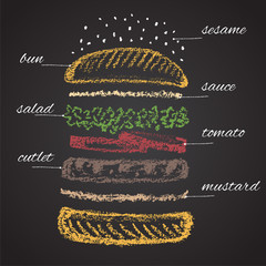 Colored chalk painted components of burger. Infographic.