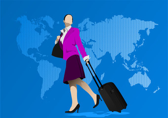 Business womman with suitcase on world map background. Vector il