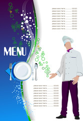 Restaurant (cafe) menu. Colored vector illustration for designer