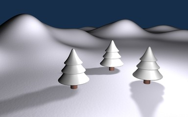 white winter 3d landscape with three trees and hills eps10