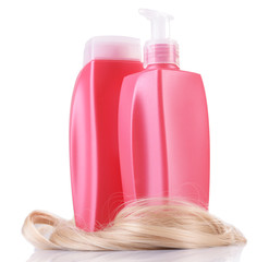 Shampoo and hair conditioner with curly blond hair isolated