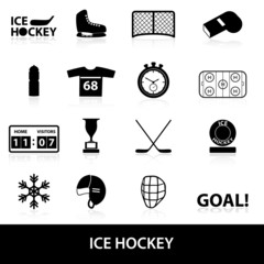 ice hockey sport black icons set eps10