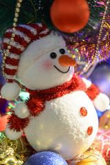 Fairytale Christmas composition with snowman and Christmas decor