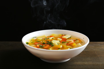 Delicious home cooked food with steam
