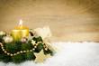 Leinwanddruck Bild - goldenes weihnachtsarrangement mit werbefläche