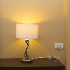 electricity lamp on wood table bedside