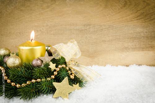 Leinwanddruck Bild goldenes weihnachtsarrangement mit werbefläche