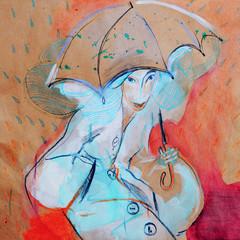 Girl walking in warm rain, drawing on paper