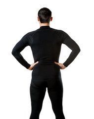 Male black thermal underwear, back view