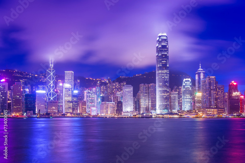Poster Hong-Kong Hong Kong Victoria Harbour cityscape at night.
