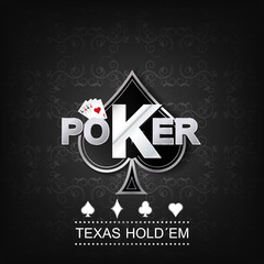 Poker illustration on a dark background with card symbol